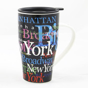 "NYC ""Hotspots"" Ceramic Travel Mug - Black"