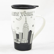 NYC Night Skyline White Ceramic Travel Mug