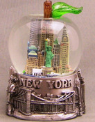 NY Skyline and Bridge Pewter Apple Shaped 65mm Snowglobe