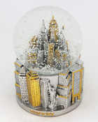 NYC 3D Pewter and Gold 45mm Snowglobe
