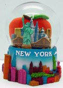 NYC Big Apple Skyline 100mm Snowglobe
