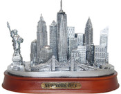 NY City Skyline Pewter Model - Oval