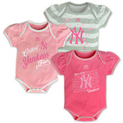 "Yankees Baby ""Triple Play"" 3pc. Pink Bodysuit Set"