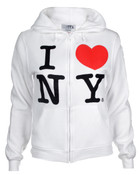 I Love NY Junior Zipper Hoodie - White