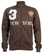 Brown New York 3 Series Full Zip Sweatshirt - Front