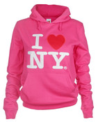I Love NY Junior Hooded Sweatshirt - Fuschia