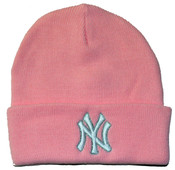 NY Yankees Pink Cuff Knit Hat