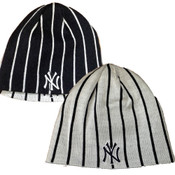 NY Yankees Reversible Pinstripe Beanie Knit Hat