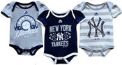 Yankees Baby Girl 3pc Bodysuit Set - Navy