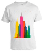 Colorful NY Skyline T-shirt -White