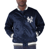 New York Yankees Starter Navy Blue Genuine Satin Jacket - front