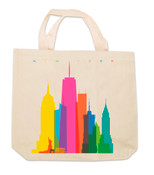 Colorful NY Skyline Canvas Tote Bag
