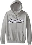 NY Yankees Shut Out Full Zip Hooded Fleece Sweatshirt -Grey