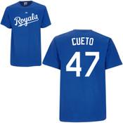 Johnny Cueto T-Shirt - Royal Blue Kansas City Royals Adult T-Shirt