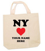 NY Loves Me Personalized Canvas Tote Bag