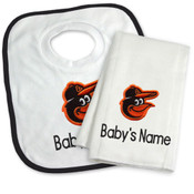 Baltimore Orioles Personalized Bib and Burp Cloth Gift Set