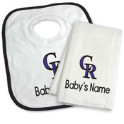 Colorado Rockies Personalized Bib and Burp Cloth Gift Set