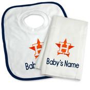 Houston Astros Personalized Bib and Burp Cloth Gift Set