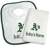 Oakland Athletics Personalized Bib and Burp Cloth Gift Set
