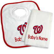 Washington Nationals Personalized Bib and Burp Cloth Gift Set