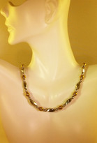 Silver w_6mm Gold Necklace (Ladies)