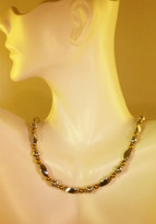Silver w_4mm Gold Necklace (Ladies)