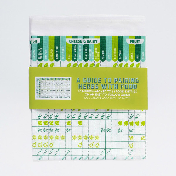 A Guide to Pairing Herbs With Food tea towel by Stuart Gardiner, available at Of Cabbages & Kings.