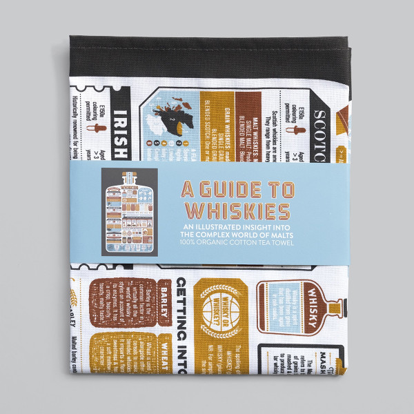 A Guide To Whiskies Tea Towel by Stuart Gardiner at Of Cabbages and Kings