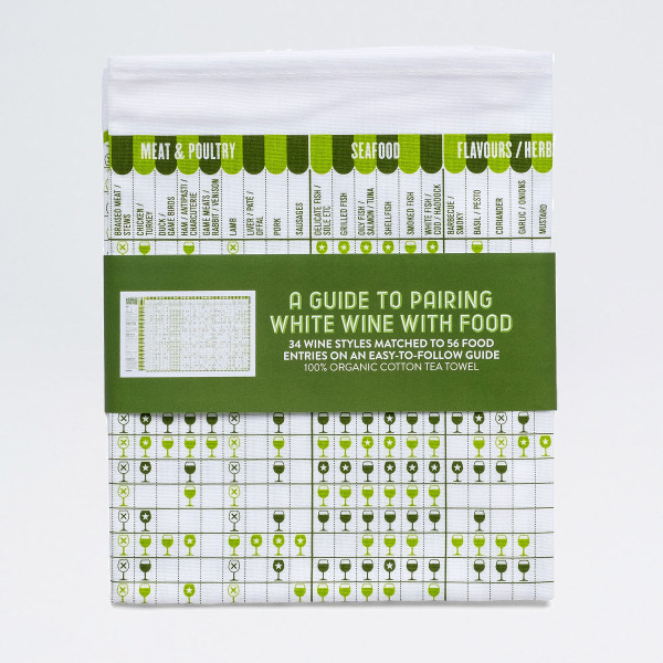 A Guide to Pairing White Wine and Food Tea Towel by Stuart Gardiner available at Of Cabbages & Kings.