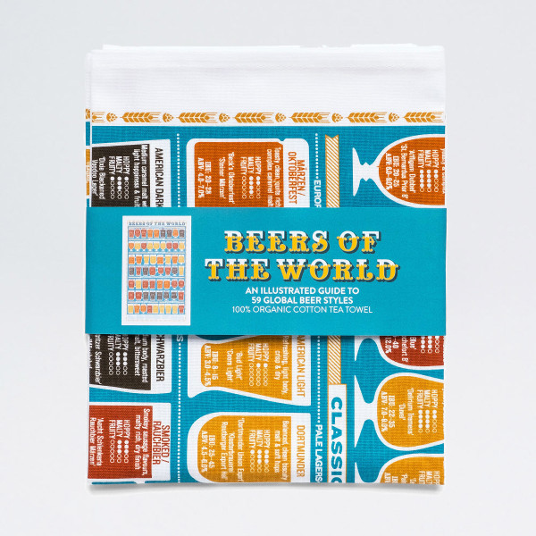 Beers of the World tea towel by Stuart Gardiner at Of Cabbage and Kings.