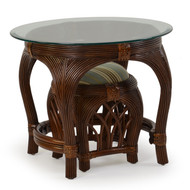 Island Way Rattan Round End Table With Stool