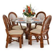 Islamorada Rattan 5 Piece Dining Set Side Chairs Pecan Glaze