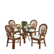 Islamorada Rattan 5 Piece Dining Set 2 Arm and 2 Side Chairs Pecan Glaze