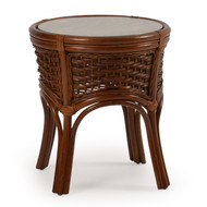 Islamorada Rattan Round End Table Pecan Glaze