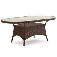 "Kokomo Outdoor Wicker 40""x70"" Oval Dining Table Tortoise Shell"