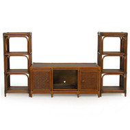 Bali Rattan Plasma 3 Piece Entertainment Center Pecan Glaze