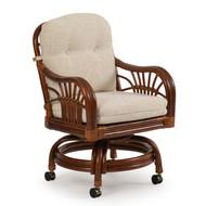 Islamorada Rattan Swivel Tilt Caster Chair Pecan Glaze