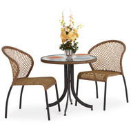 Empire Outdoor Wicker 3 Piece Bistro Set Coconut