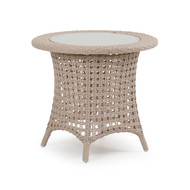 Coquina Key Outdoor Wicker End Table White Sand