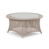 Coquina Key Outdoor Wicker Cocktail Table White Sand