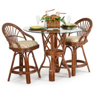 Islamorada Rattan 3 Piece Counter Set Pecan Glaze