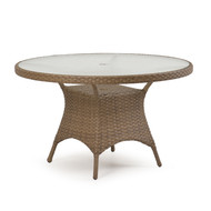 "Kokomo Outdoor Wicker 48"" Round Dining Table Oyster Grey"