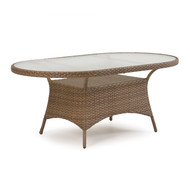 "Kokomo Outdoor Wicker 40""x70"" Oval Dining Table Oyster Grey"