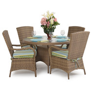 Kokomo Outdoor Wicker 5 Piece Dining Set Oyster Grey