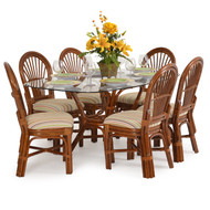 Islamorada Rattan 7 Piece Dining Set Side Chairs Pecan Glaze