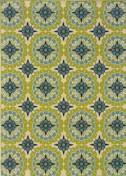 Caspian Aqua Lime Floral Indoor Outdoor Rug