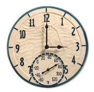 "14"" Round By The Sea Outdoor Clock and Thermometer"