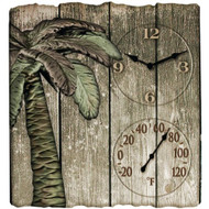 "14""X12.5"" Palm Tree Outdoor Clock and Thermometer"