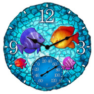 "14"" Round Tropical Fish Outdoor Clock and Thermometer"