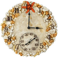 "14"" Round Seashell Outdoor Clock and Thermometer"